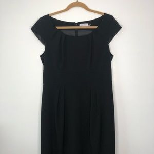 Calvin Klein Black Cap Sleeve Fitted Dress size 12